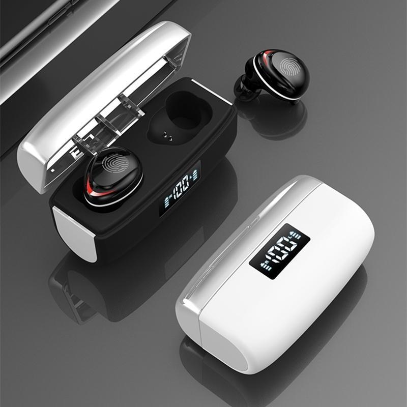 Bluetooth 5.0 наушники Сенсорное управление Беспроводные наушники HiFi IPX7 водонепроницаемый наушники-гарнитура со светодиодным дисплеем короб