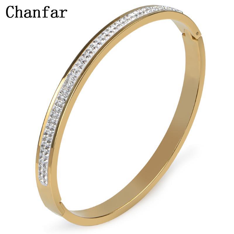 Роскошные 2Rows Мода Rhinestone цвета золота Openining браслет из нержавеющей стали Любовь Женщины Мужчины ювелирные изделия