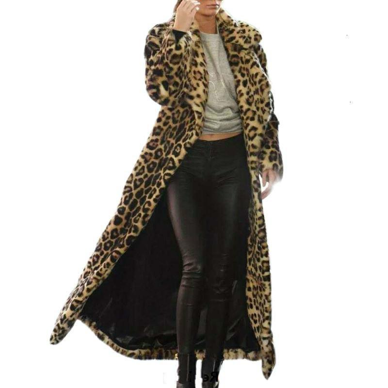 2019 Autumn Winter Faux Leopard Long Elegant Cotton Parka Trench Women Warm Fur Plush Coat Casual Slim Jacket Top