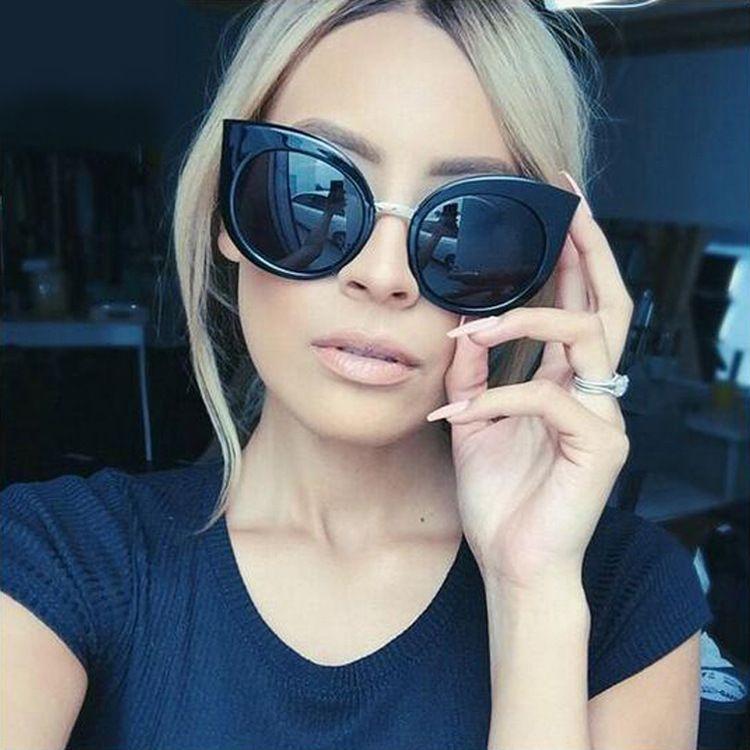 ojo de gato gafas de sol redondas de las mujeres Gafas de sol 2020 de la nueva manera para el partido exagerada gafas de sol gafas de sol de color deslumbramiento manera de las señoras