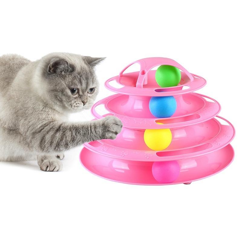 4 niveaux Pet Cat Interactive Tour Toy Tracks Intelligence Disc Cat Toy Amusement Triple Pay Disc Cat Toys balle Training Plate 201109