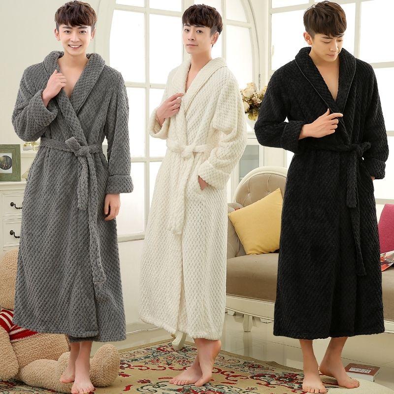 Влюбленные зимние длинные густые теплые халат для мужчин термический коралловый флис кимоно ванна халат мужской классический халат мужские фланельные халаты 201109