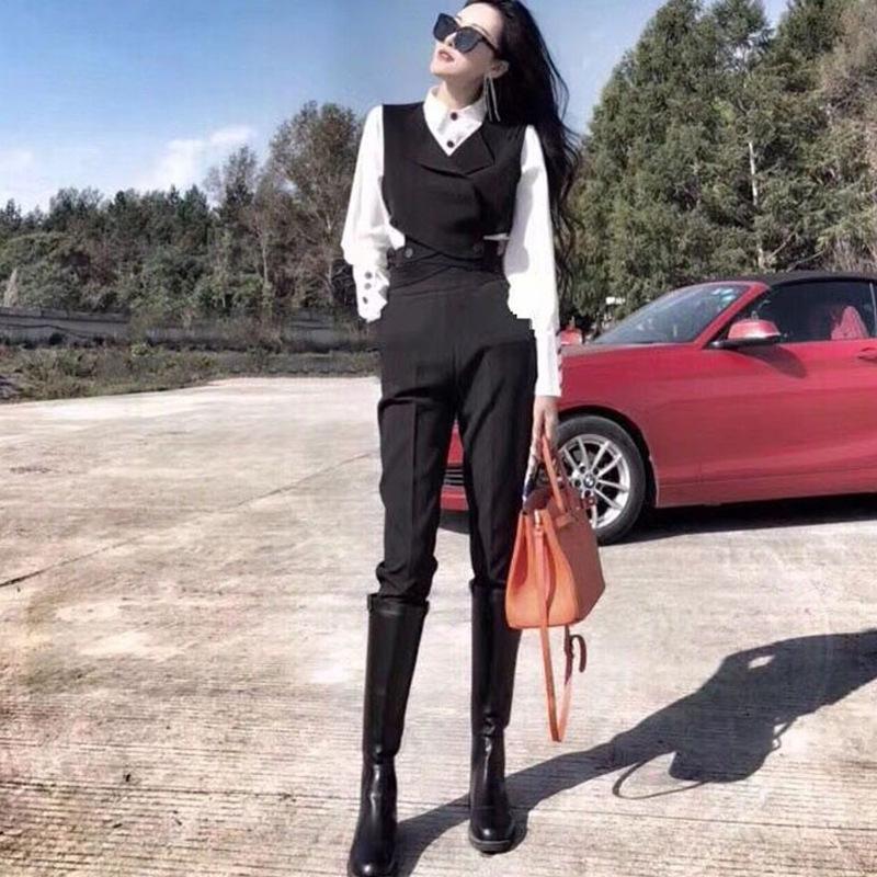v4AEl costume célébrité Internet veste Choisit le style royal occidental soeur beau pantalon mode petit costume de tempérament trois pièces 2020 Automne wo
