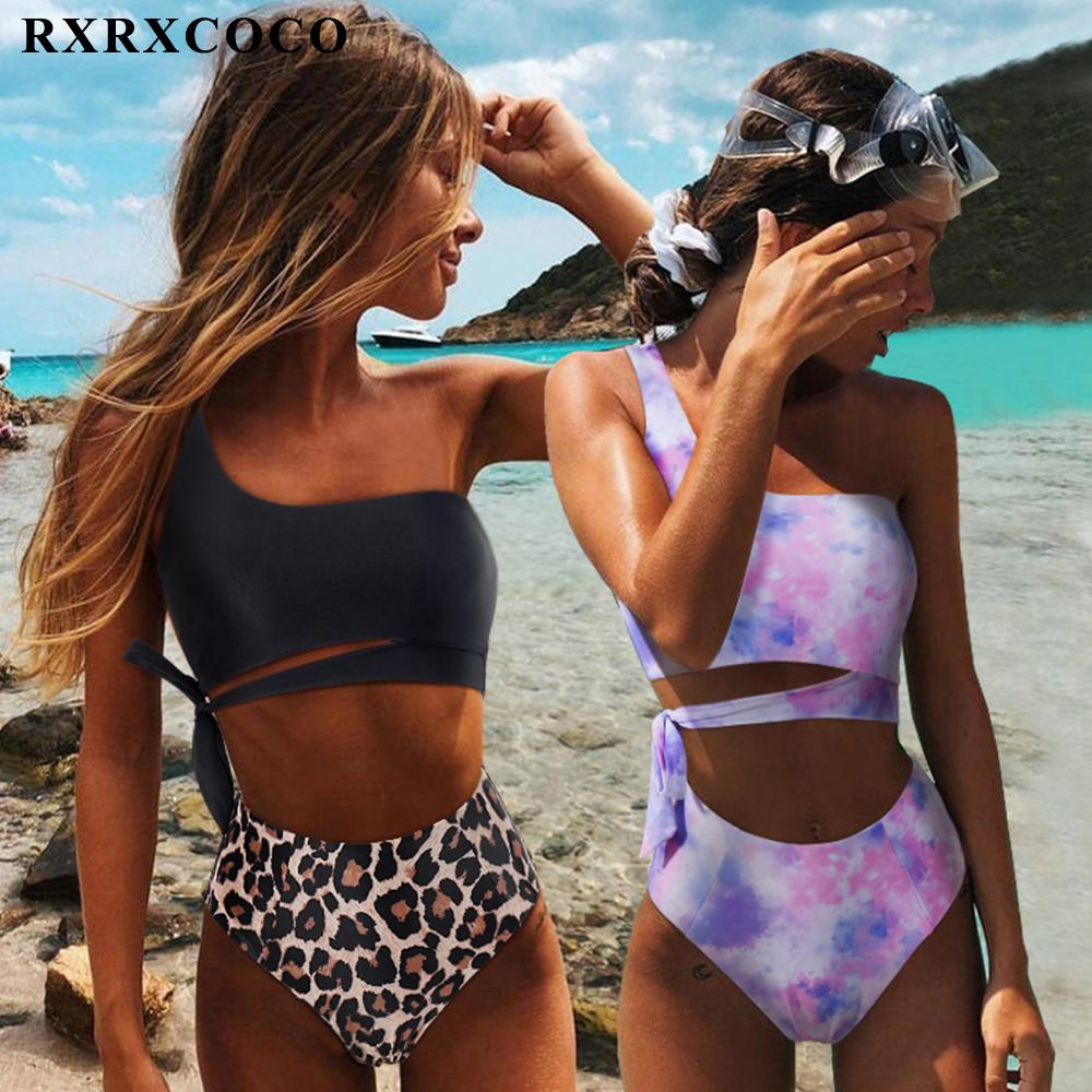 Rxrxcoco alta cintura swimwear push up beachwear swimsuit sexy sexy natação terno leopardo um ombro mulheres biquini