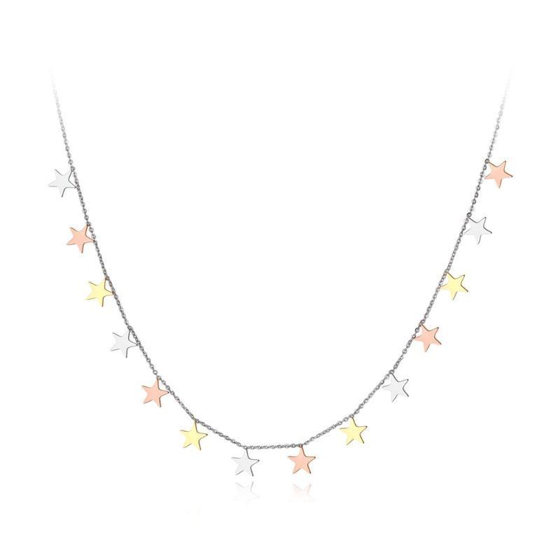 Aço inoxidável moda Design original Titanium Três Estrelas Cor encanto colares cadeia pingente de colar para mulheres N19069