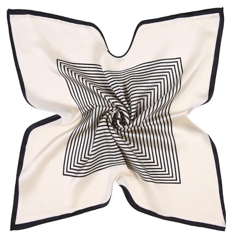 Pequeñas bufandas de hijab para mujer Raya Impresión de seda Satin Satin SPARF Female 55CMX55CM Mantones cuadrados Poder Bufandas para damas