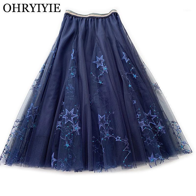 BRYIYIE blau Pailletten Tüll Röcke Frauen 2020 Neue Sommer Süße elastische Hohe Taille A-Zeile Rock Weibliche Sterne Gedruckt Lange Röcke1
