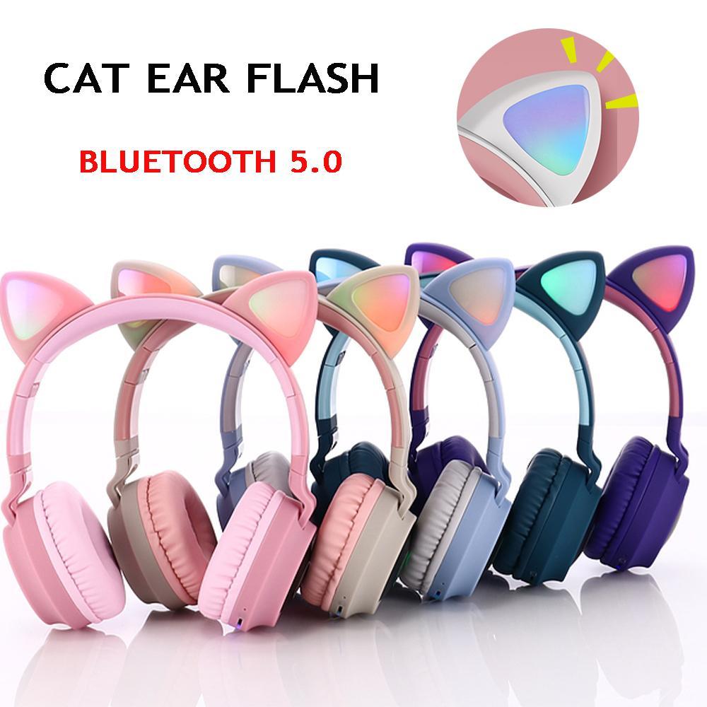 Cute Cat Ears наушники Беспроводные Bluetooth 5,0 оголовье игры Красочный светодиодные гарнитуры Красота HIFI Stereo Музыка Наушники Grils Дети подарков