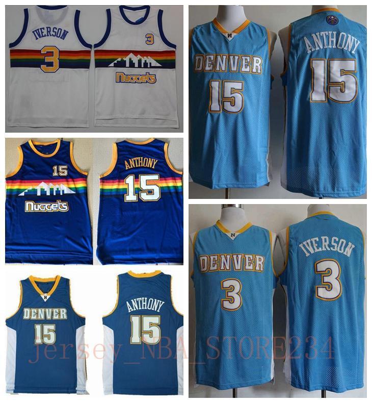 Mens 15 Carmelo Anthony Retro BlauDenverNuggets-Shirt Vintage Carmelo Anthony Allen Iverson Vancouver Basketball Jerseys