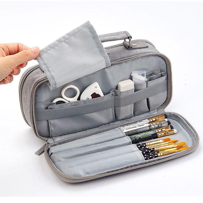Netter Mehrschichtige Bleistift-Kasten-Leinwand-Bleistift-Beutel Kreative großer Kapazitäts-Feder-Kasten für Mädchen Geschenk Schule Bürobedarf Schreibwaren