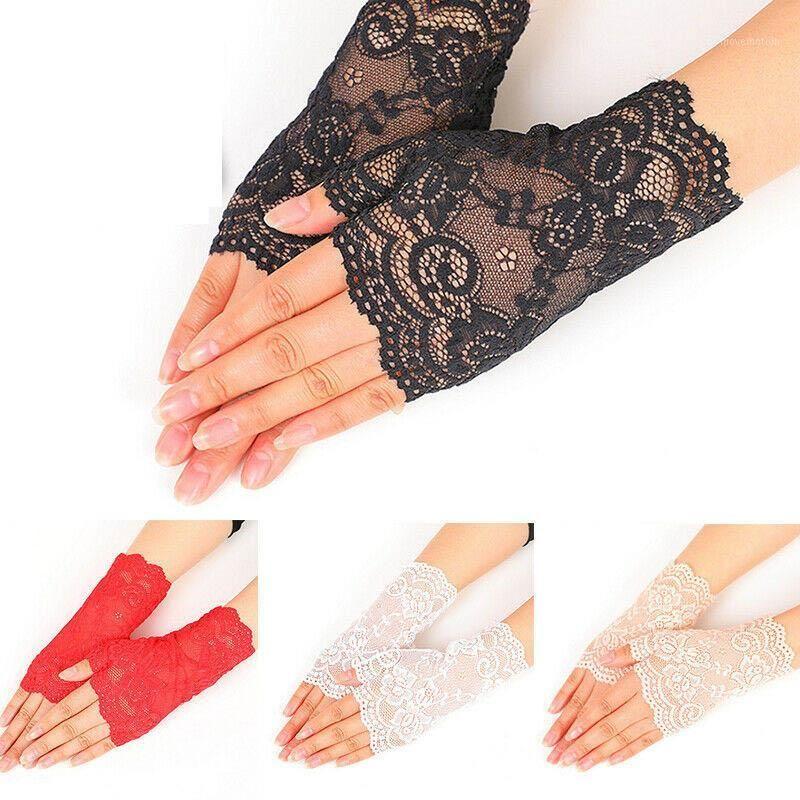 1Pair longueur longue doigt femmes sexy dentelle gants de dentelle blanche noire dames demi doigts gants de crème solaire gants de maille1
