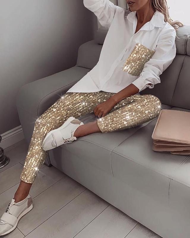 1 Takım Kadın Setleri Sequins Uzun Kollu Gömlek Turn-down Yaka Rahat Elastik Glitter Parlak Pantolon Sonbahar Streetwear Bayanlar Setleri1