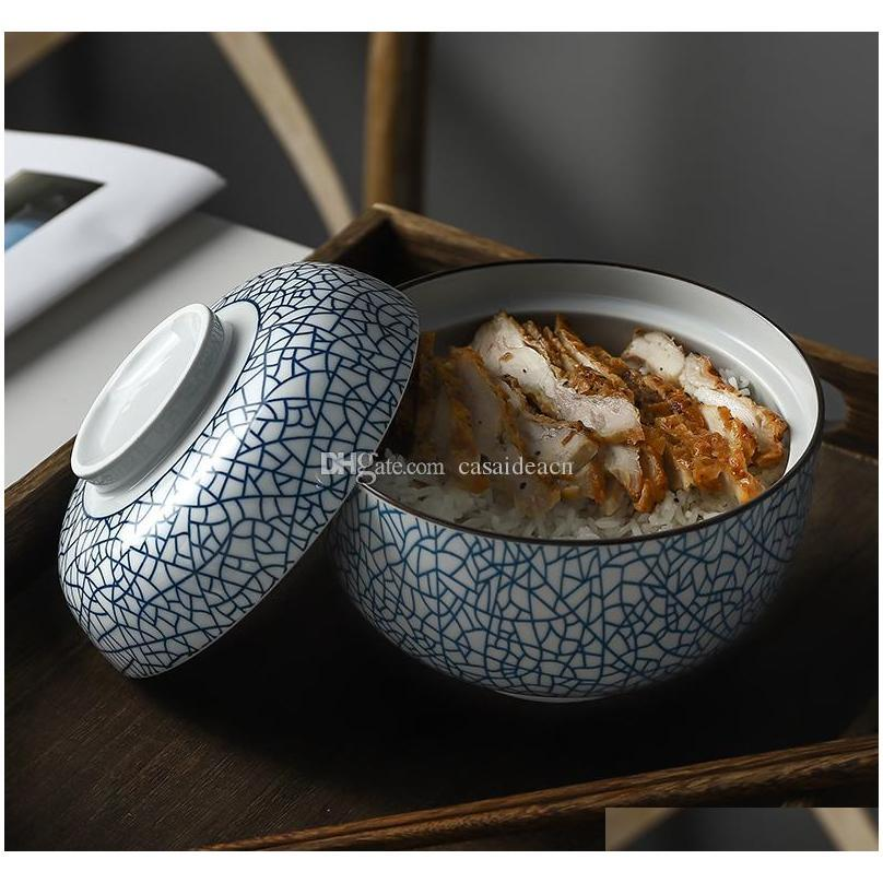 Zen Spirit Bol japonais avec couvercle pour la soupe de nouilles de riz Vintage sous-allongée Bols de céramique à la main Stew tuture SQCSV Five2010