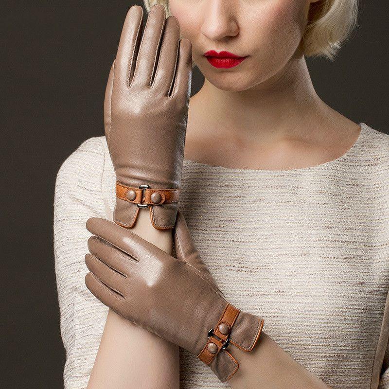 Женщины из натуральной кожи Перчатки женские Зимнее Теплое Plus Velvet Утолщенные Рукавицы Женщины Повседневная мода Hand Muff H3221 1012