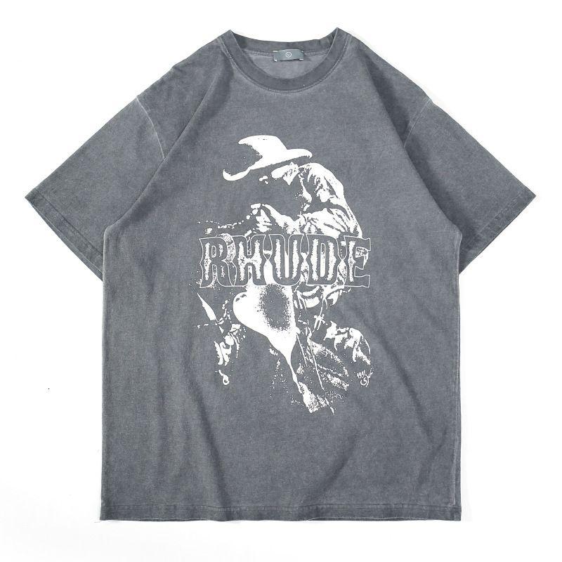 Fgss wear   summer new fashion wash denim print men's loose short sleeve T-shirt