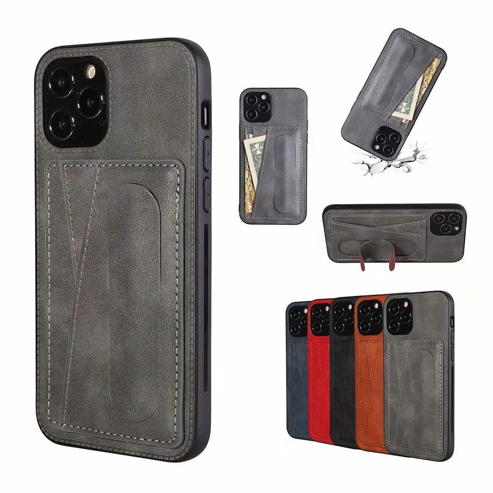 Cartera de cuero Titular de la tarjeta de tragamonedas Funda para iPhone 12 Samsung Note 20 S20 A51 A71 A81 A91 TAPU TPU TPU Caja de bolsillo AUTO CUBIERTA DE ATRÁS