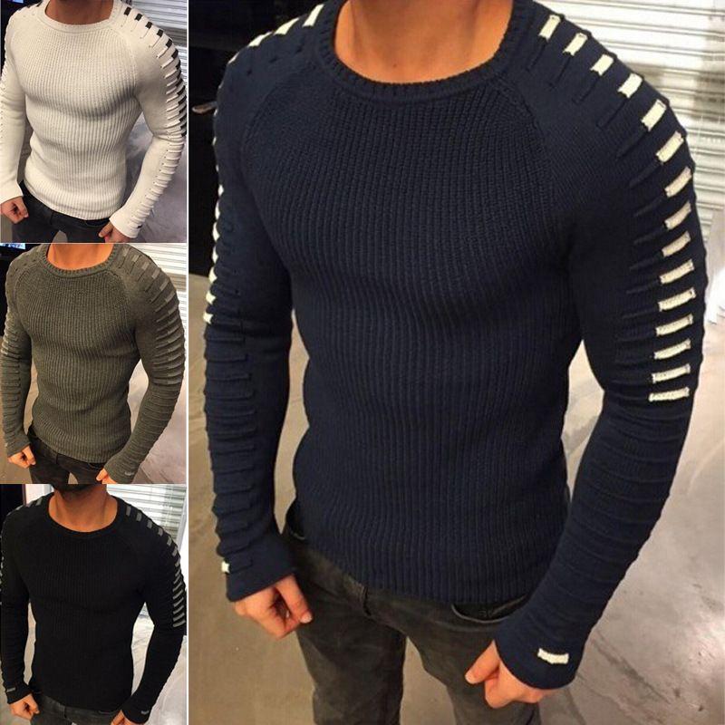 2020 nouveaux vêtements Pull-over de la mode masculine automne hiver chandail rayé épais mâle Marque beige vert marine noir