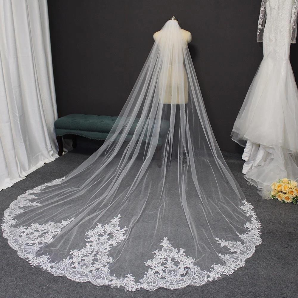 Yüksek Kaliteli Dantel Düğün Peçe 3 Metre Uzun Gelin Peçe Tarak Ile Zarif Peçe Gelin Veu De Noiva Düğün Aksesuarları