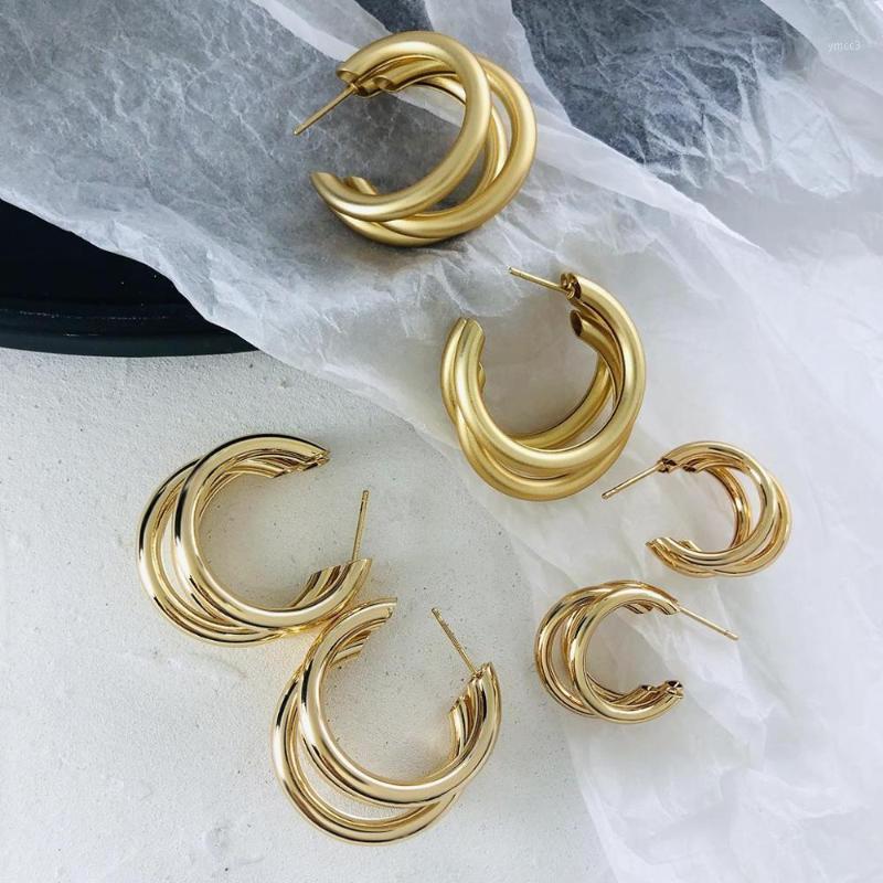 Aensoa Minimalist 2020 orecchino a cerchio metallico per donna Trendy Triple Open Circle Cermiera a forma di orecchini a forma di orecchini Brincos1