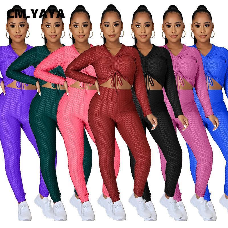 CM.Yaya Sweat-Plaid actif SweatSuit Deux 2 pièces pour femmes Hiver Hiver Fitness String Chaîne Gueutre Tops + Pantalons de jambe Set Setwacksuit