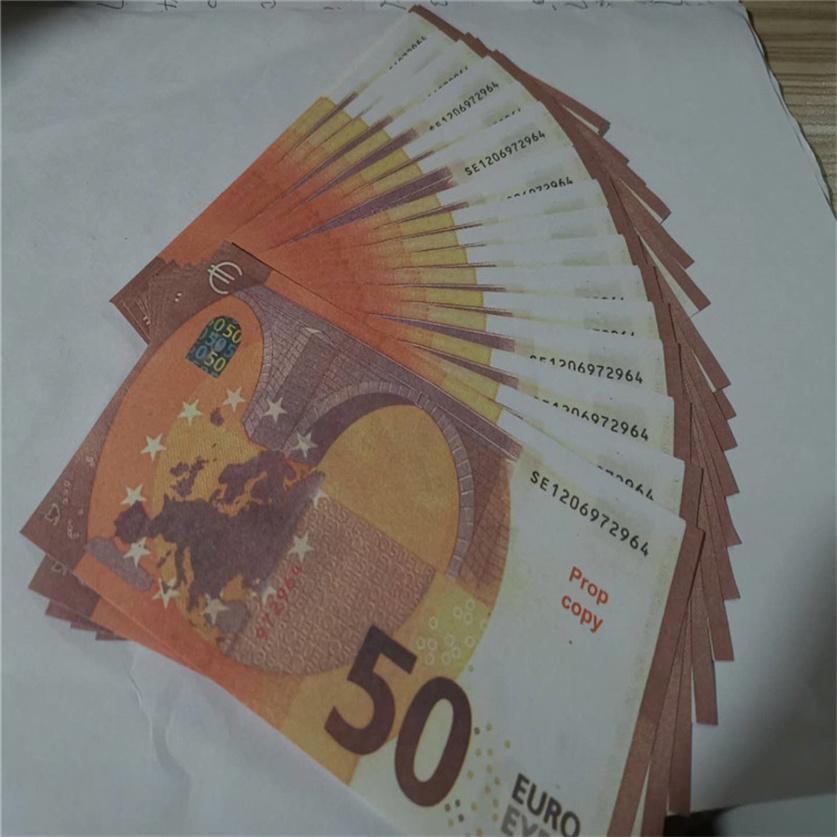 2021 Vente chaude PROP ARGENT EUR 10/20/50/100/200/500 PAPIER Copier BankNote PROP ARGENT 100PCS / PACK 55