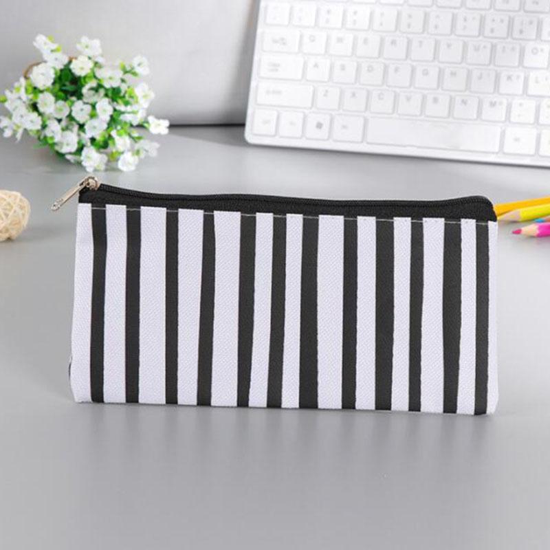 Stripe Pencil Bag Pocket School Cosmetic Makeup Pencil Pen Organizer Bag Case Pouch Office School Supplies HHB2240
