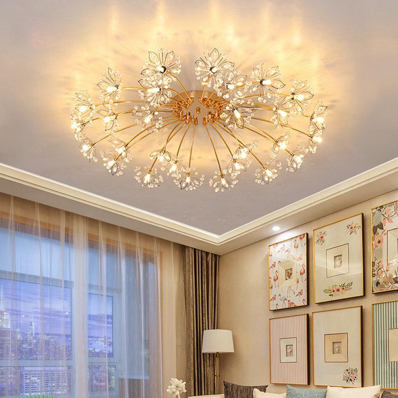 Lüks LED Kristal Tavan Işık Oturma Odası Dekorasyon Avizeler Yaratıcı Sıcak Yatak Odası Lamba Düğün Odası Yıldızlı LED Tavan Lambası Oda