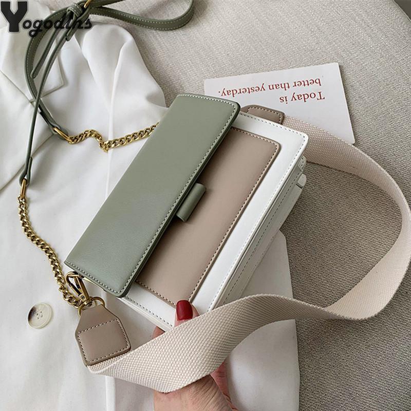 Contraste da cor bolsas de couro Bandoleira For Women 2020 Viagem Handbag Moda Simples Ombro Messenger Bag Ladies Mini Flap Bag 0928