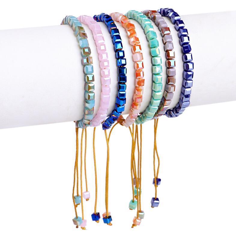 Square-tissé à la main en verre cristal perles Bracelet gros bijoux en perles Bracelet