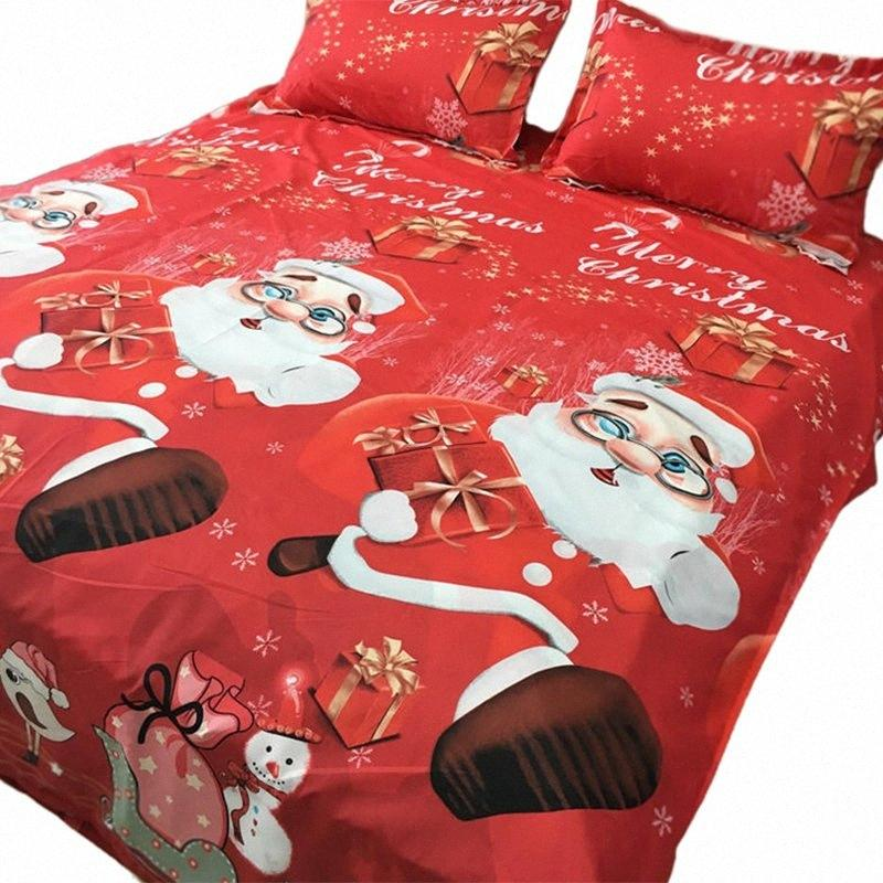 Practical Bedding Set Cotton Four Piece Set Quilt Cover Father Christmas Badge Bed Comforter Colorful Full King Queen Red 0FOv#
