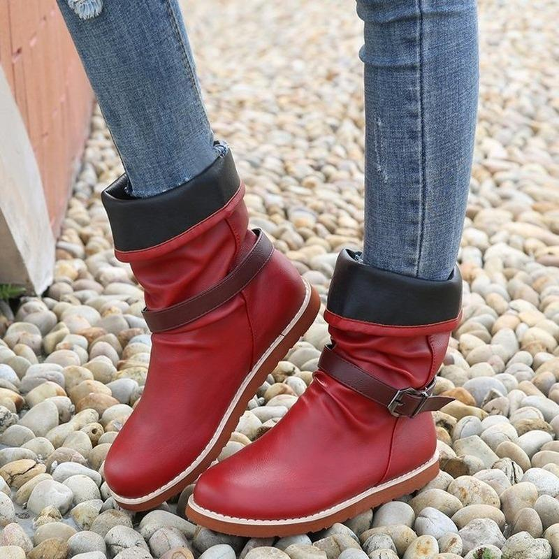 2020 Inverno Mulheres Botas Liso Calçados Casuais Couro Couro Botas de tornozelo Confortável Mole Handmade Alta Qualidade Botinhas Mujer Botas
