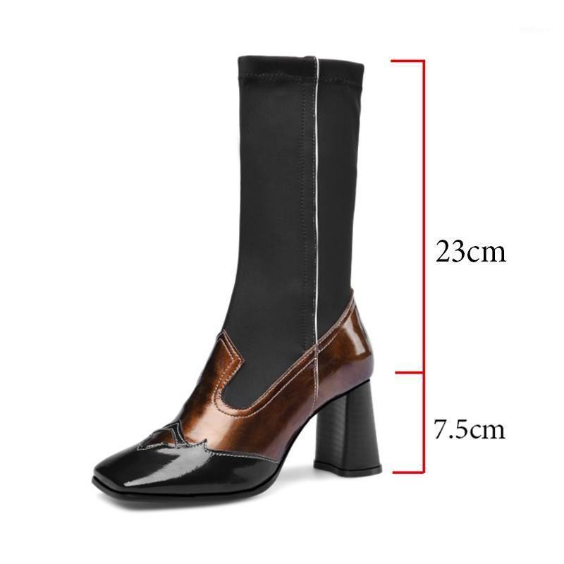 2020 New European Square Toe Mixed Color Women Mid-pantorrilla Boots Patchwork Slip-on Stretch Chunky Heel Fashion Boots Mujeres1
