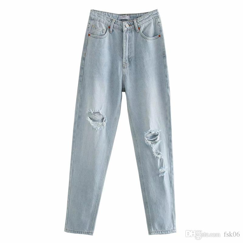 Novalya allentato Light Blue rotto foro dei jeans delle donne di moda sbiancato denim Pantaloni Donna Elegante Figura intera Jeans femminile signore HV
