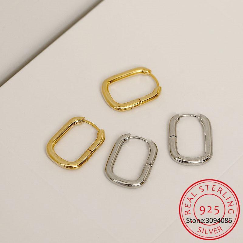 Hoop Huggie 925 Sterling Silver Oval Geométrico Pendientes pequeños para mujeres Evite alergia con S925 Regalo de sello S-E1082