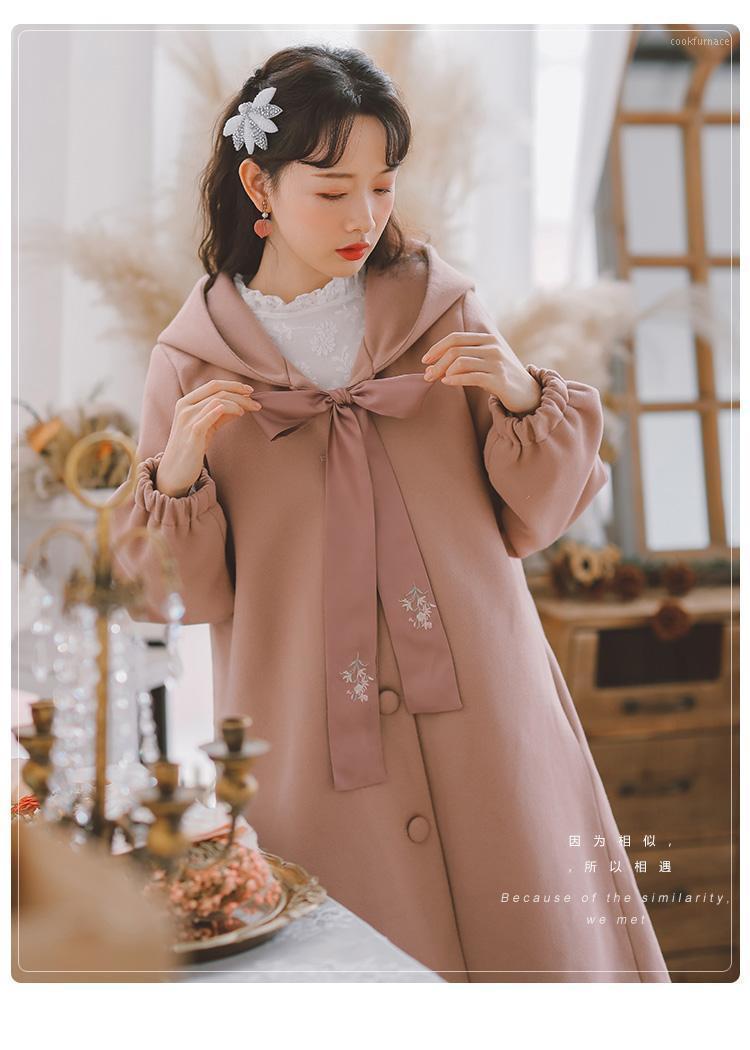 2021 Nouveau hiver sauvage littéraire humide tempérament épais manteau rouge manteau manteau mori femme1