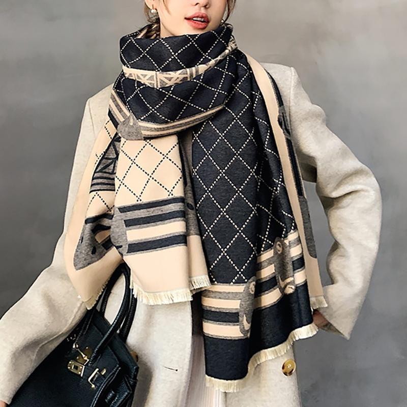 2020 جديد الشتاء وشاح الحديد برج الكشمير شال المرأة الدافئة على الوجهين سميكة الفولار سيدة الأزياء باندانا الإناث