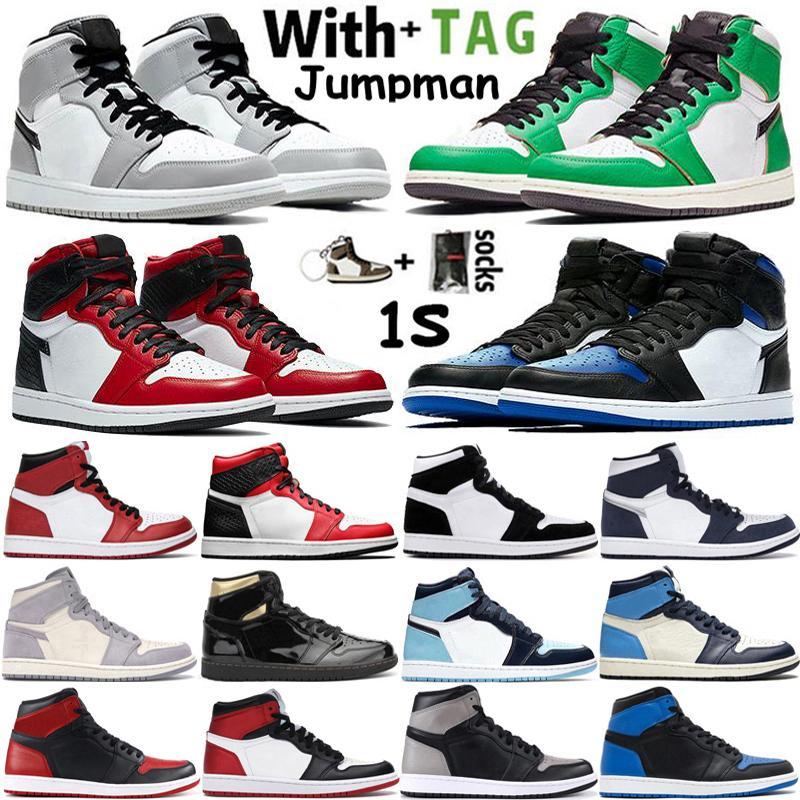 2021 Yeni Varış Yüksek OG 1 1 S Erkek Basketbol Ayakkabı Şanslı Yeşil Kraliyet Toe Işık Duman Gri Obsidiyen UNC Chicago Kadınlar Sneakers Eğitmenler