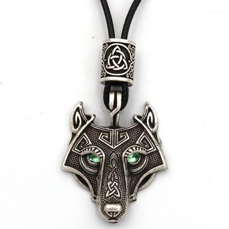 الأخضر عيون الذئب قلادة vegvisir valknut المدرجات حبة الفايكينغ مجوهرات قلادة الرجال وثنية تميمة talisman دروبشيبينغ 1