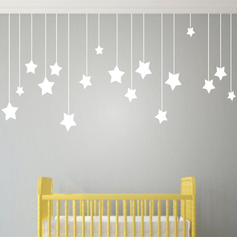 Enfants mur d'art Décor de nurserie Stickers muraux enfants Jardin d'enfants Decal Etoiles Decal pour chambre enfant Stickers enfant T170302