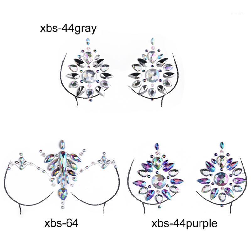 Sex Produit Femme Soutien-gorge Pâtes Poitrents Autocollants Adhésifs Accessoires de peinture Corps Crystal Nipple Stickers Coffres1