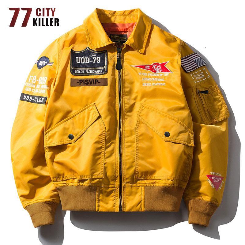 77 City Killer New Bomber Men Spring Herf Streetwear Air Force Jas Mascule Windjack Hip Hop Chaqueta Hombre