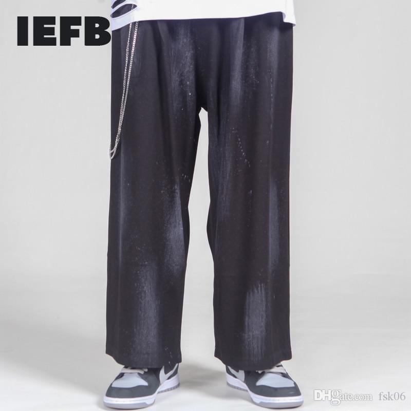 IEFB / Usura da uomo Abbastanza allentato Vita elastica Pantaloni da caviglia Pantaloni Alla moda Antico Pantaloni Casual Pantaloni Casual con catena Nuovo 9Y4176