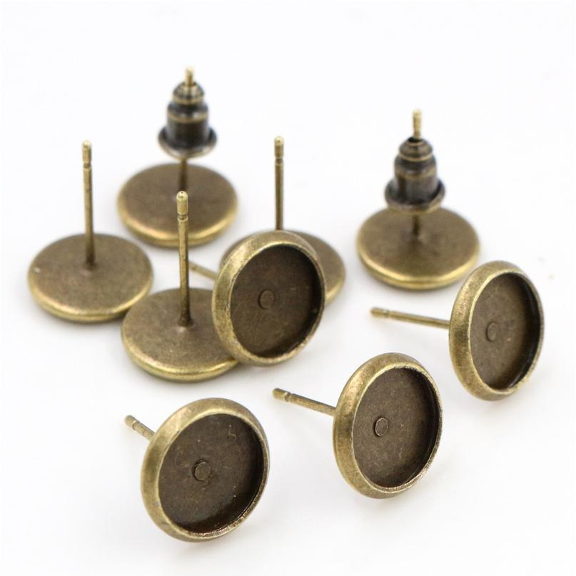 100pcs/lot 8mm High Quality Copper Metal 6 Color Ear Studs Earring Base Findings Cabochon Setting Accessories (fr bbyzzb