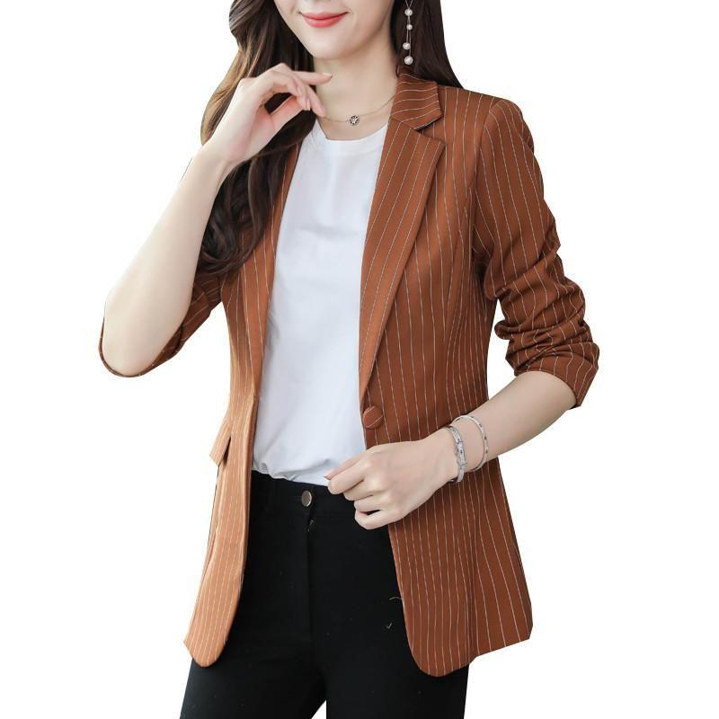 Blazers Jackets 2020 Plus Size Suits 4XL Womens negócio do escritório Feminino Blazers casacos listrados Magro Blazer Mulheres Suit