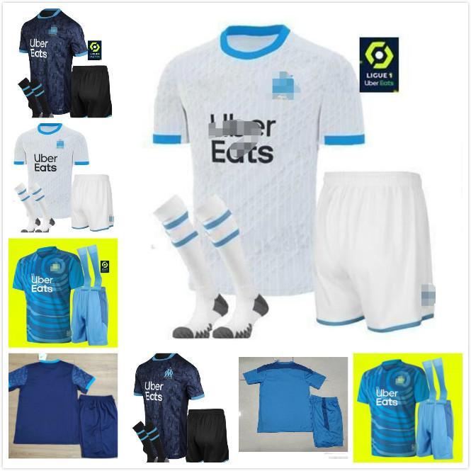 Kit adulte Chaussettes 20 21 Olympique om Marseille Soccer Jerseys Kits 2020 Marseille Maillot de Foot Payet Camisetas Payet Balotelli Football Set