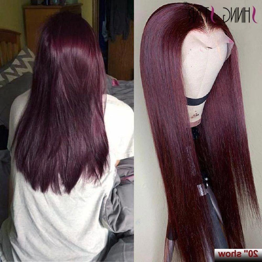 Pelucas frontales de Borgoña 99J Humano Brasileño Lacio recto Peluca Peluca Pre-arrancada Remy Hair Shining Star 180