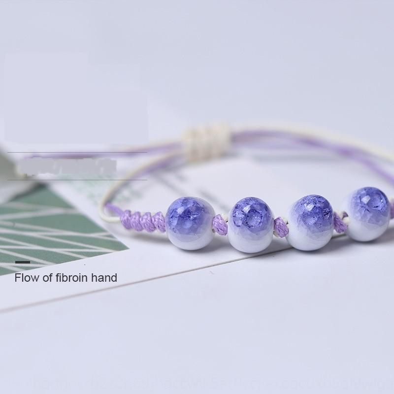Ice Riss Porzellan Perlen gewebt kleine frische Keramikperlen Schnur einfache und schöne Armband Armband Hand Seil Nachtmarkt Ware LjKL6