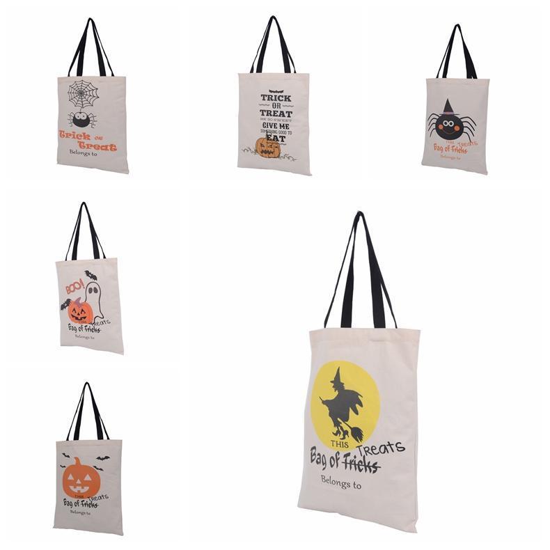 6 Tipos Bolsas de asas de Halloween con mango negro Calabaza Navidad Bolsas de compras Festival Regalos Bolso Bolsa de lona de Halloween