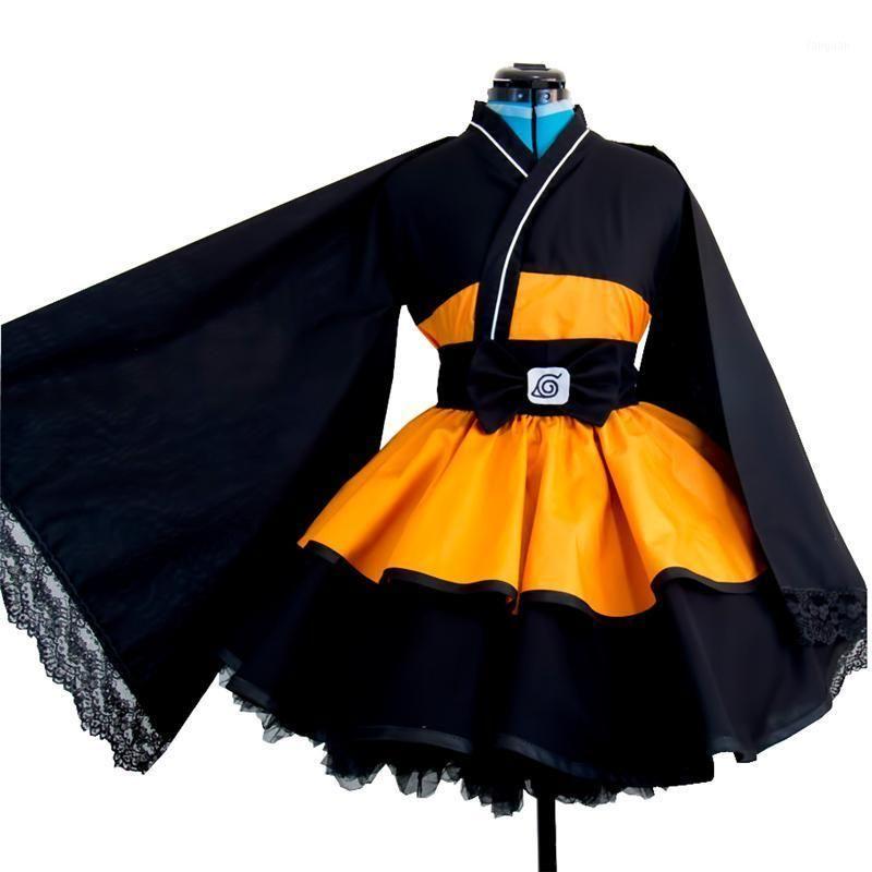 Naruto Cosplay Traje Uzumaki Naruto Lolita Vestidos Kimono Mulheres Vestido Anime Cosplay Halloween Festa Uniformes Wigs1