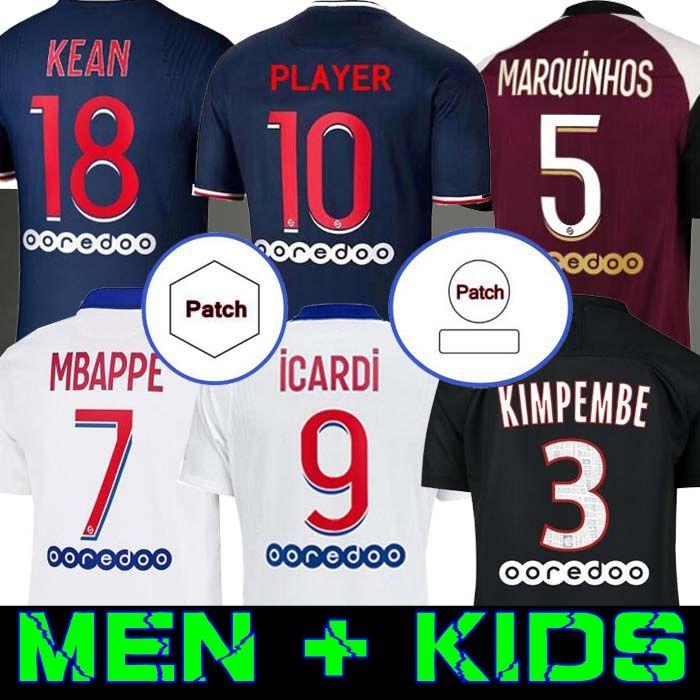 Maillots de football 20 21 كرة القدم جيرسي 2020 mbappe icardi قميص الرجال الاطفال مايلوت دي القدم hommes enfants kimpembe di maria kean marquinhos